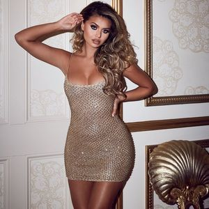 DROP A GLINT EMBELLISHED MINI DRESS IN GOLD